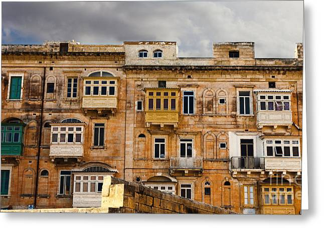 Typical Maltese Building With Balconies Greeting Card by Frank Bach