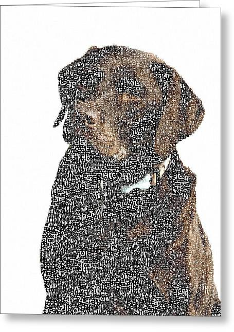 Typographic Dog  Greeting Card by Celestial Images