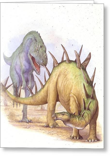 Tyrannosaur Chasing Chialingosaurus Greeting Card by Deagostini/uig