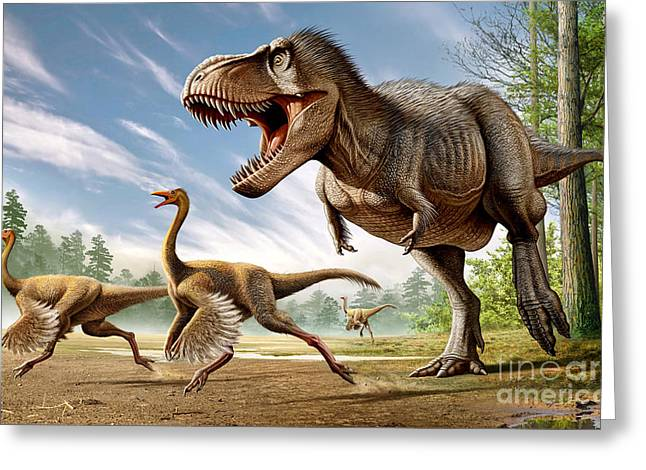 Tyrannosaurus Rex Attacking Two Greeting Card by Mohamad Haghani