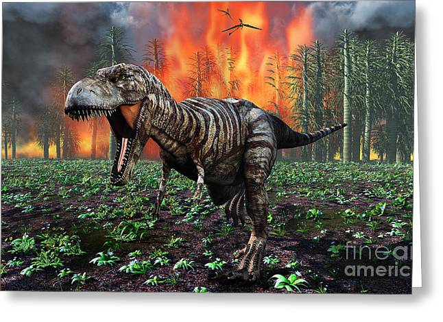 Tyrannosaurus Rex Fleeing From A Deadly Greeting Card