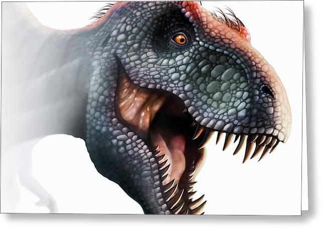 Tyrannosaurus Rex Head Greeting Card by Mark Garlick