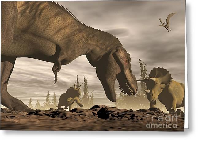 Tyrannosaurus Rex Roaring At Two Greeting Card by Elena Duvernay