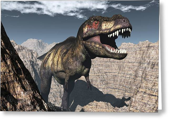 Tyrannosaurus Rex Roaring In A Canyon Greeting Card