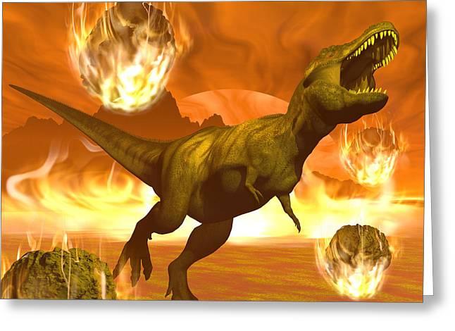 Tyrannosaurus Rex Struggles To Escape Greeting Card by Elena Duvernay