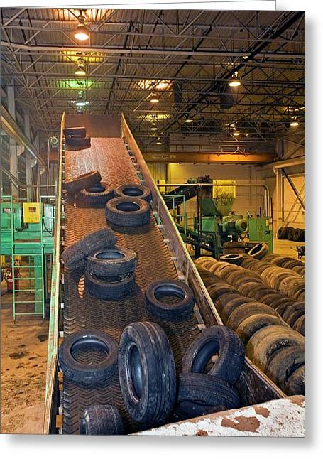 Tyre Recycling Facility Greeting Card by Jim West