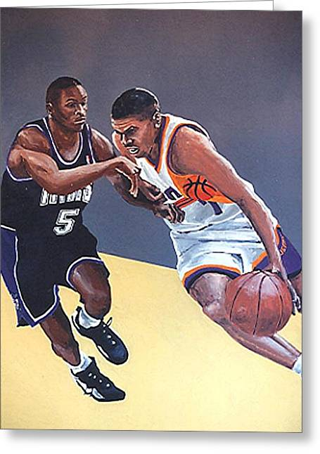 Tyus Edney And Kevin Johnson Greeting Card by Paul Guyer