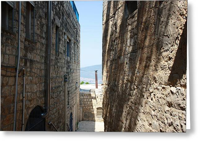 Greeting Card featuring the photograph Tzfat Narrow Path by Julie Alison