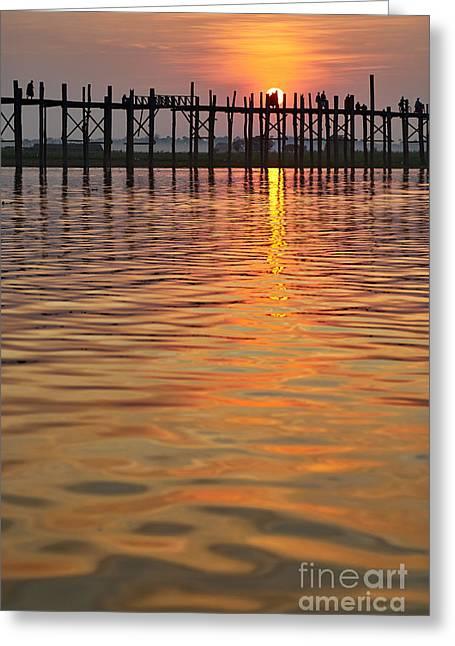 U Bein Bridge In Mandalay Greeting Card by Juergen Ritterbach
