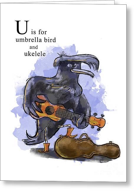 U Is For Umbrella Bird Greeting Card by Sean Hagan