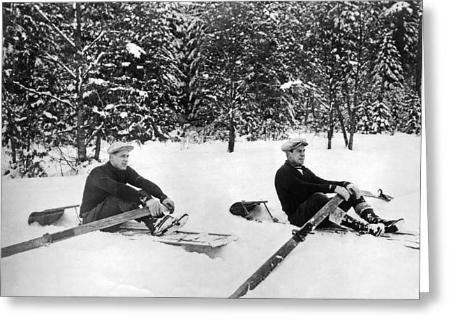 U Of W Crew Stage Toboggan Race Greeting Card by Underwood Archives