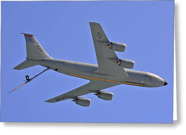 Greeting Card featuring the photograph U S Air Force Flyover by DigiArt Diaries by Vicky B Fuller