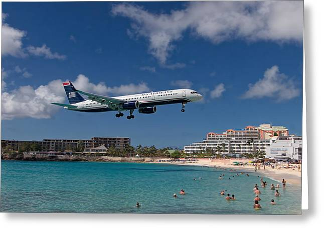 U S Airways Low Approach To St. Maarten Greeting Card by David Gleeson