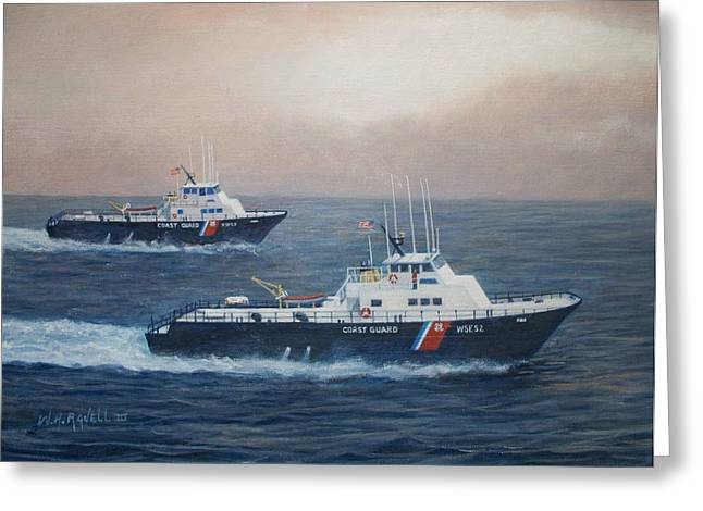 U. S. Coast Guard Surface Effects Ships Sea Sea Hawk And Shearwater  Greeting Card by William H RaVell III