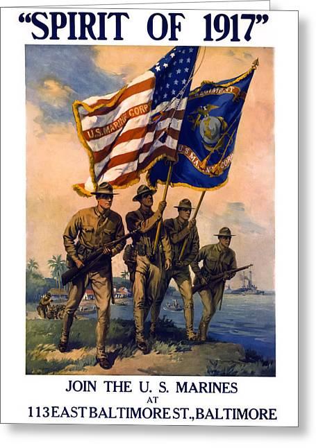 U. S. Marines Spirit Of 1917 Greeting Card by Daniel Hagerman