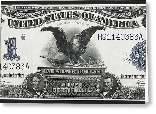 U. S. Silver Certificate 1899 Greeting Card by Daniel Hagerman
