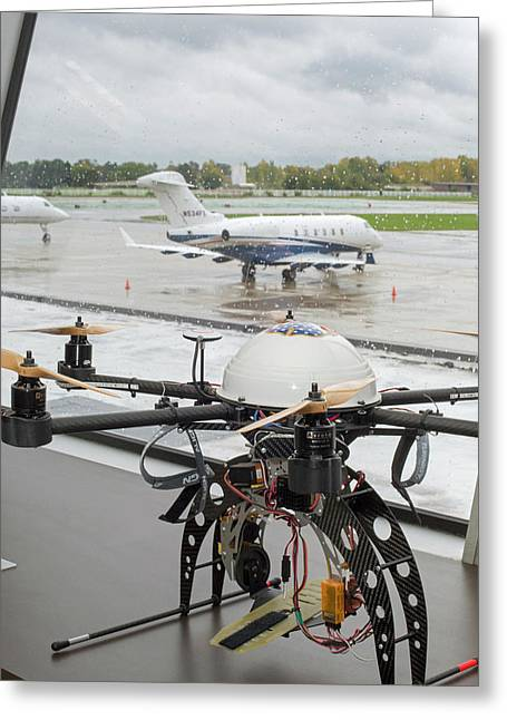 Uav Drone At An Airport Greeting Card by Jim West