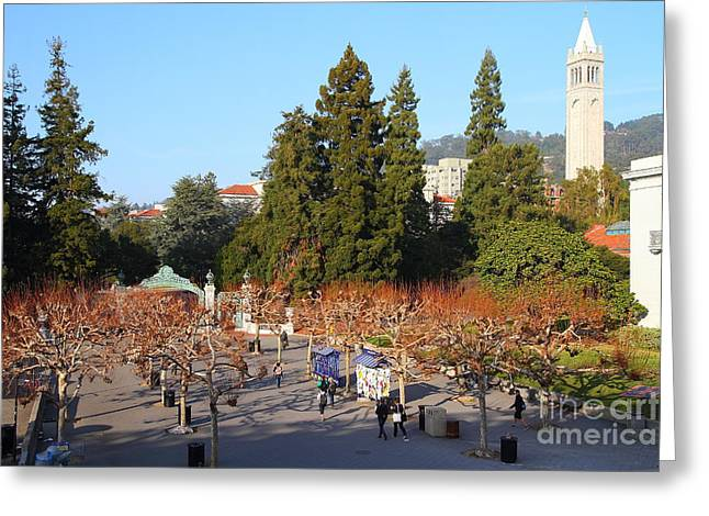 Uc Berkeley . Sproul Plaza . Sather Gate And Sather Tower Campanile . 7d10002 Greeting Card