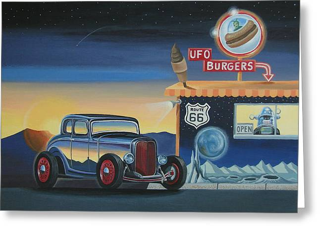 U.f.o. Burgers Greeting Card by Stuart Swartz