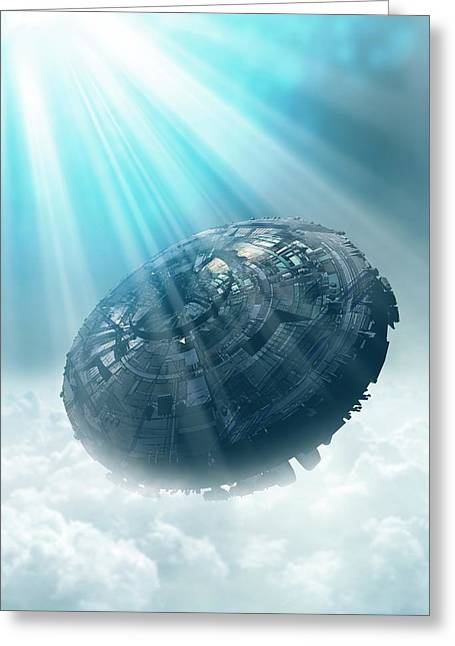 Ufo In The Cloud Greeting Card by Victor Habbick Visions