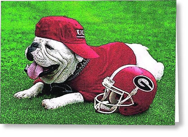 Uga With Helmet T-shirt Greeting Card