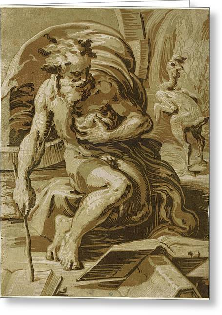 Ugo Da Carpi After Parmigianino Italian Greeting Card by Quint Lox