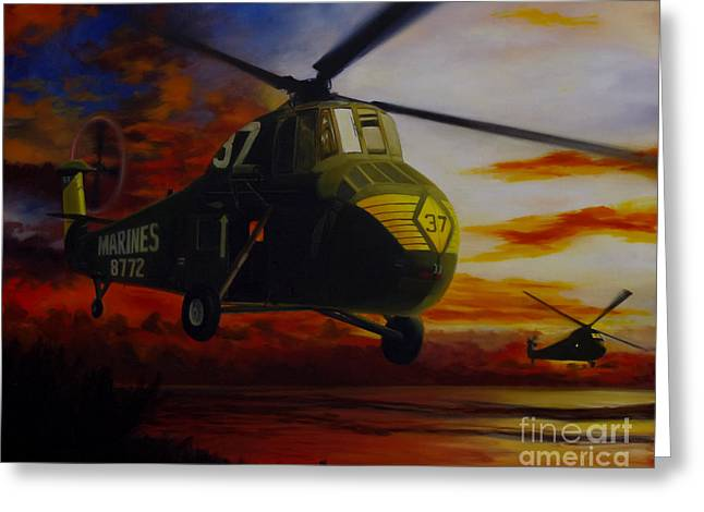 Uh-34d Over The Beach Greeting Card by Stephen Roberson