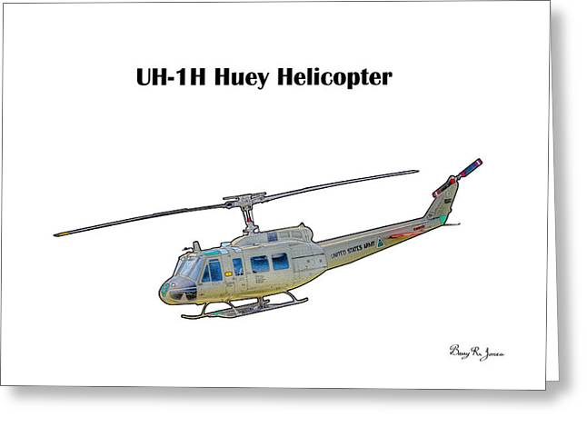 Uh-ih Huey Helicopter Greeting Card by Barry Jones
