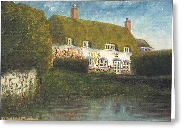 Greeting Card featuring the painting Uk Cottage by Diane Daigle