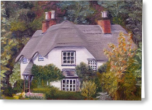 Greeting Card featuring the painting Uk Thatched Cottage by Diane Daigle
