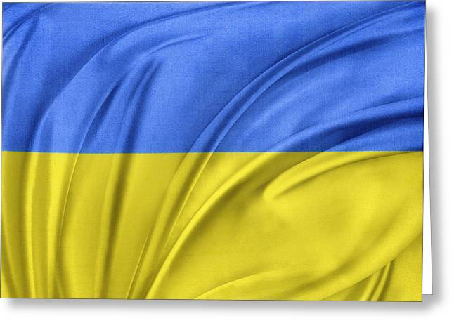 Ukrainian Flag Greeting Card by Les Cunliffe