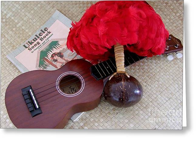 Ukulele Ipu And Songbook Greeting Card by Mary Deal