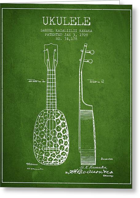 Ukulele Patent Drawing From 1928 - Green Greeting Card