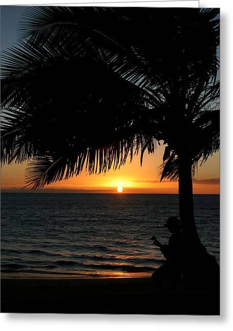 Ukulele Sunset Greeting Card