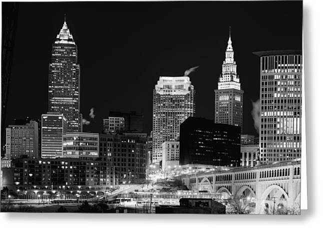 Ultra Rez Cleveland Black And White Greeting Card