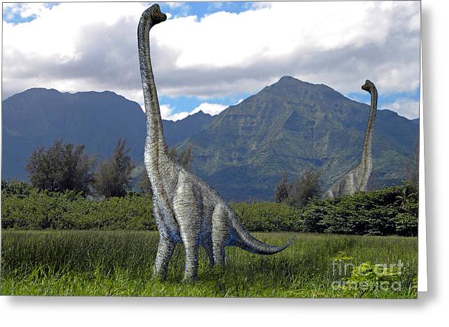 Ultrasaurus In Meadow Greeting Card by Frank Wilson