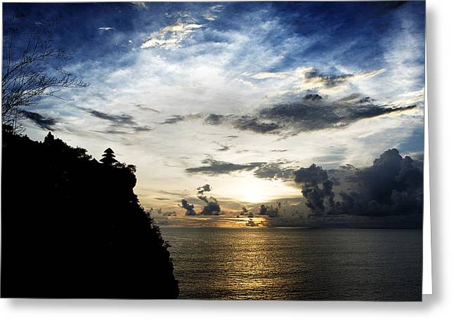 Greeting Card featuring the photograph Uluwatu Temple by Yew Kwang
