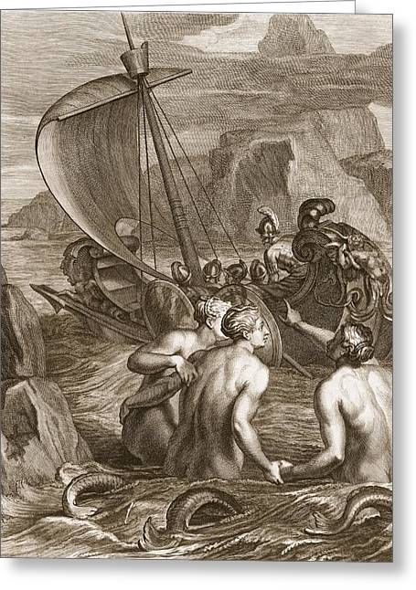 Ulysses And His Companions Avoid Greeting Card by Bernard Picart