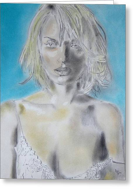 Uma Thurman Portrait Greeting Card