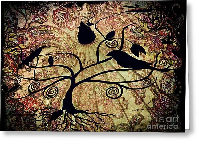 Umbrella Birds Greeting Card by Christy Ricafrente