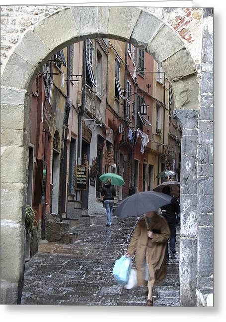 Umbrella Day Portovenere Italy Greeting Card by Sally Ross