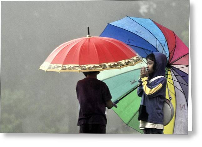 Umbrella For Rent Greeting Card by Achmad Bachtiar