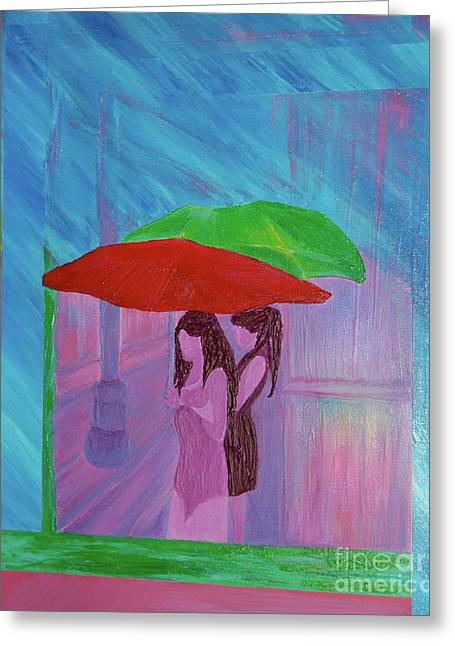 Greeting Card featuring the painting Umbrella Girls by First Star Art