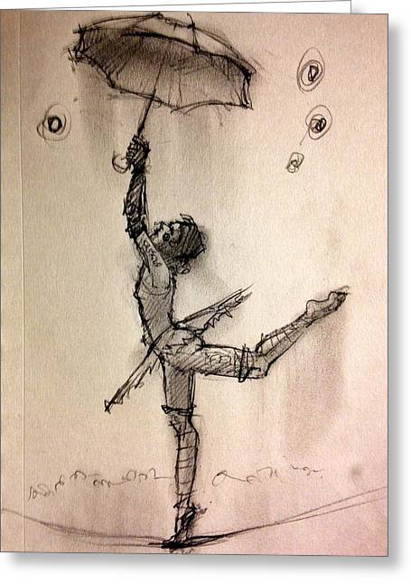 Umbrella Greeting Card by H James Hoff