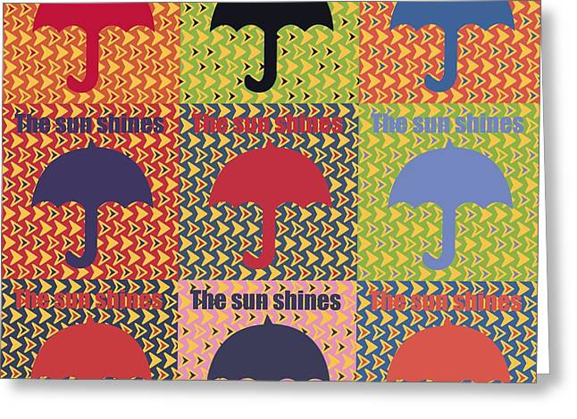 Umbrella In Pop Art Style Greeting Card