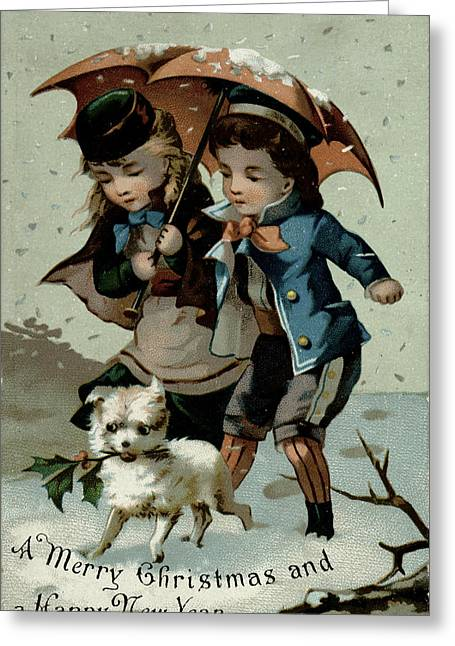 Umbrella In The Snow, Victorian Postcard Greeting Card by English School