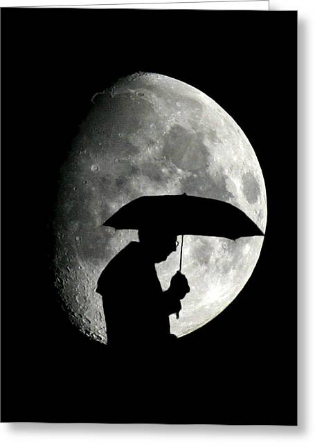 Umbrella Man With Moon Greeting Card by Christopher McKenzie
