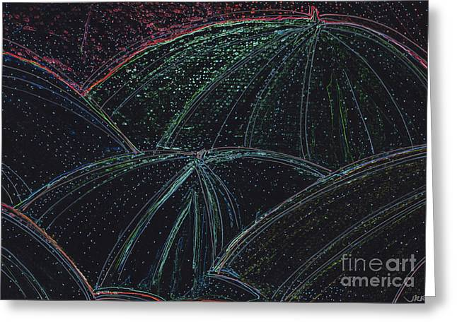 Umbrella Night By Jrr Greeting Card by First Star Art