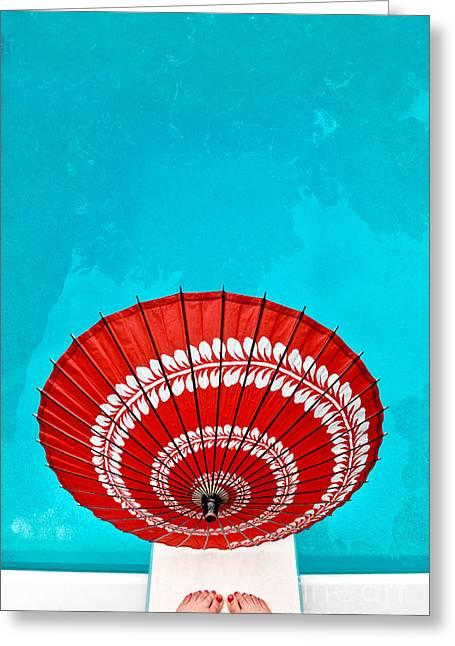 Umbrella Pool Study Greeting Card by Amy Cicconi