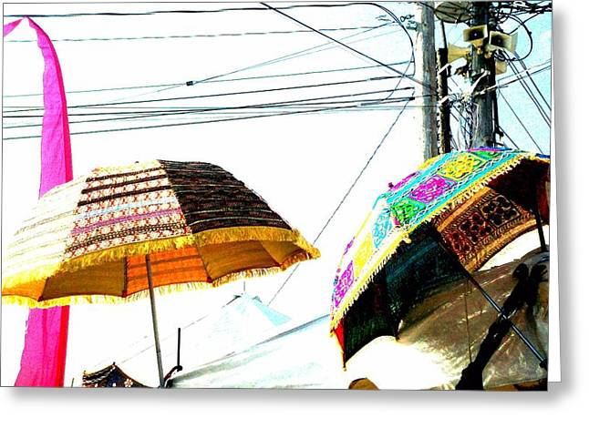 Umbrellas And Wires Greeting Card